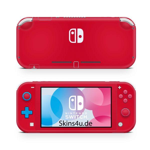 Nintendo Switch Lite Front & Back Skin Aufkleber Schutzfolie Solid state red