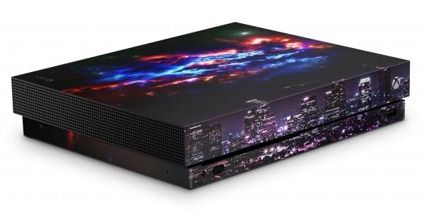 Xbox One X Schutzfolie Skin Aufkleber Design - Skyline