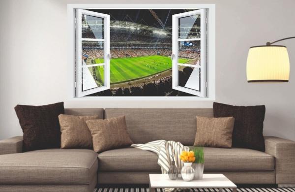 Wandtattoo Fenster 3D Optik Wandsticker Aufkleber Deko Bild - Fußball Arena
