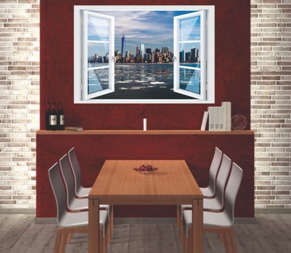 Wandtattoo Fenster 3D Optik Wandsticker Aufkleber Deko Bild Skyline New York WTC