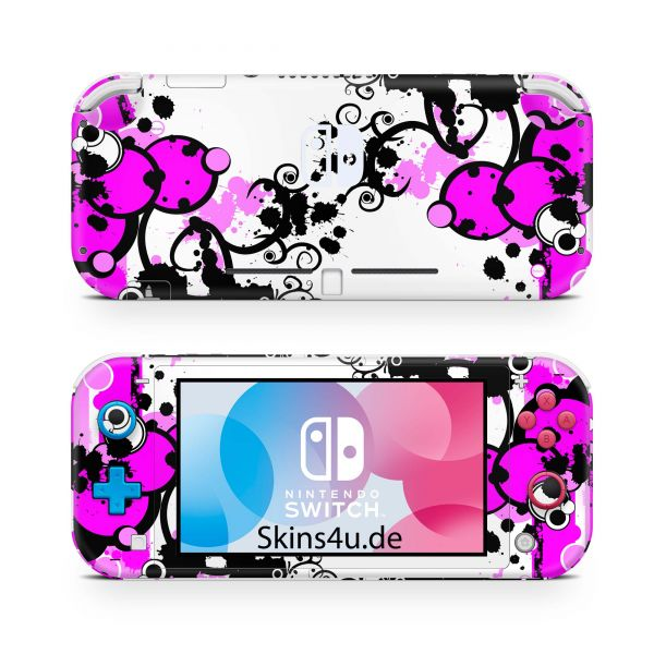 Nintendo Switch Lite Front & Back Skin Aufkleber Schutzfolie Simple pink