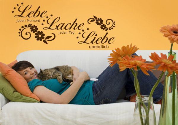 """Wandtattoo Spruch Zitat """"Lebe Liebe Lache"""" Motiv 2"""