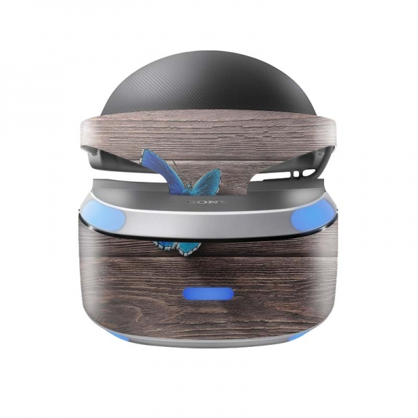 Sony Playstation VR Skin PS4 Design Aufkleber Butterfly Wood