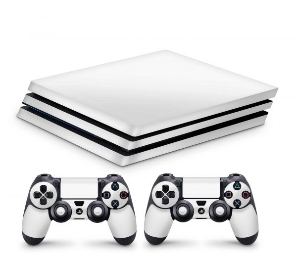 Playstation 4 Pro Skin Aufkleber + PS4 Controller Skins Solid State Weiss