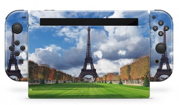 Nintendo Switch Skins Aufkleber Design Schutzfolie Set Eiffelturm Wiese
