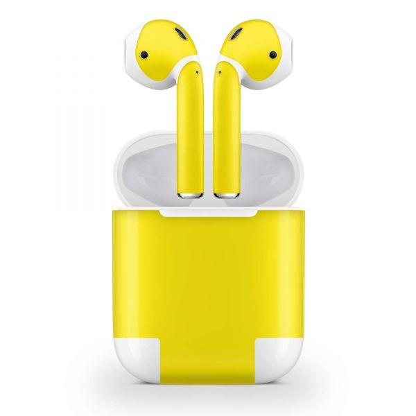 Apple AirPods Skin Aufkleber Design Vinyl Skins Schutzfolie ( 1.Generation ) Solid State Yellow