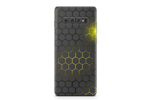 Samsung Galaxy S10 PLUS Skin Design Aufkleber - exo-small-yellow
