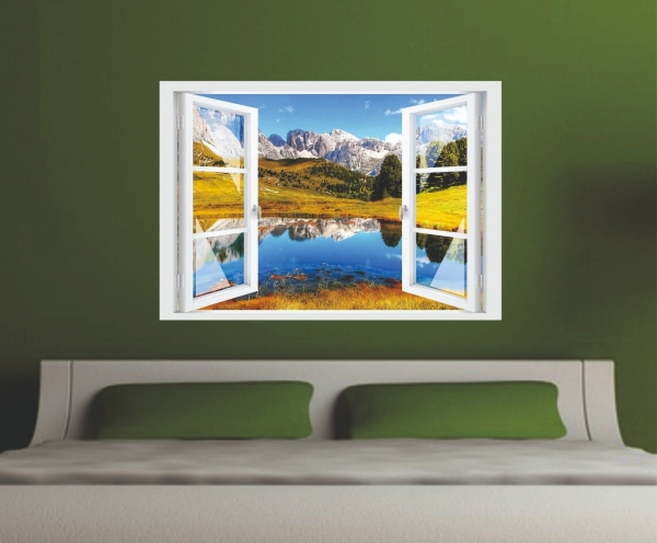 Wandtattoo Fenster 3D Optik Wandsticker Aufkleber Deko Bild Landschaft Berge See
