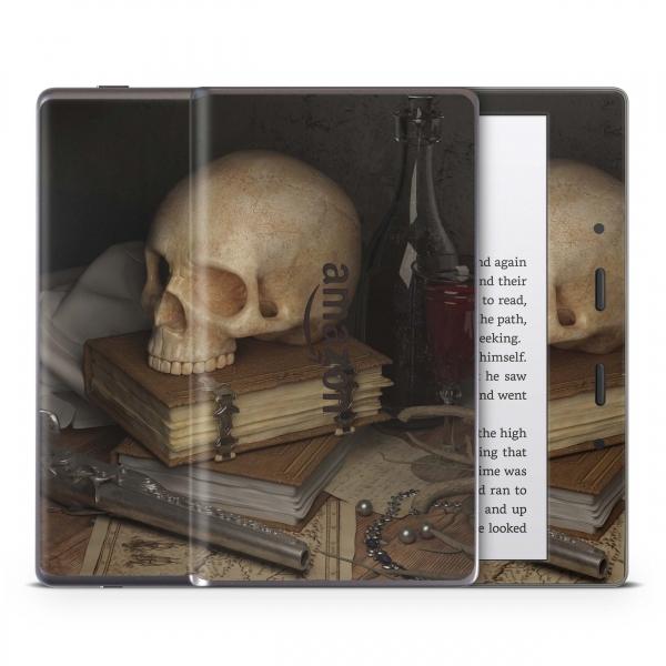 Amazon Kindle Oasis ab 2017 Schutzfolie Skin Aufkleber Design - Skull and Revolver
