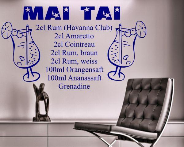 "Wandtattoo Cocktail Rezept Drink ""Mai Tai"""