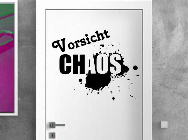 Türaufkleber Vorsicht Chaos Kinderzimmer - (auch als Wandtattoo nutzbar)