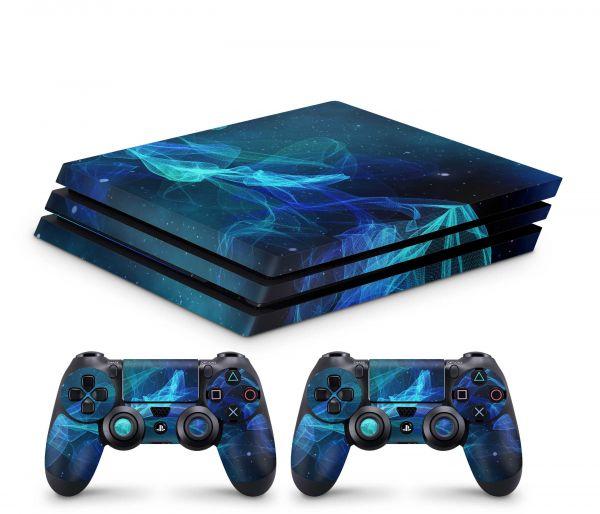 Playstation 4 Pro Skin Aufkleber + PS4 Controller Skins Star Spiral