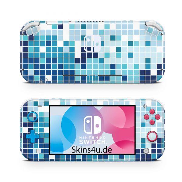 Nintendo Switch Lite Front & Back Skin Aufkleber Schutzfolie Mosaik blau