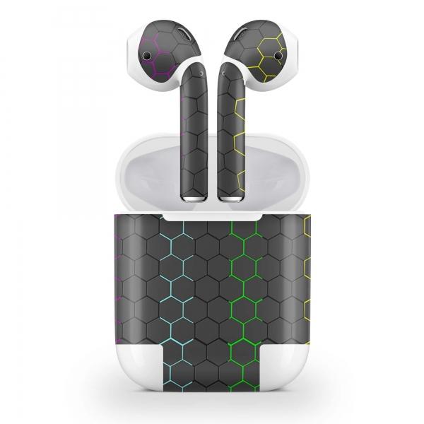 Apple AirPods Skin Aufkleber Design Vinyl Skins Schutzfolie ( 2.Gen. Wireless ) Exo Black Rainbow