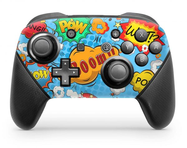 Nintendo Switch Pro Controller Skin Aufkleber Design Comics blue