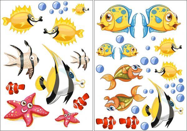 Wandtattoo Kinderzimmer Badezimmer Fliesenaufkleber Fische 2er Bogen á DINA4