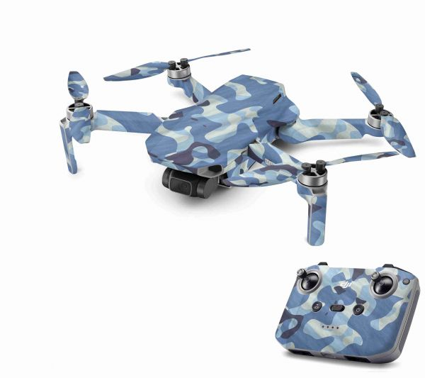 DJI Mavic Mini 2 Skin Aufkleber Wraps Skins Design Folie Waving camo blue