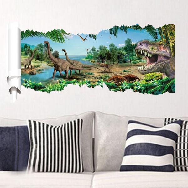3D-Wandtattoo Dinosaurier Dinos Uhrzeit Break thru
