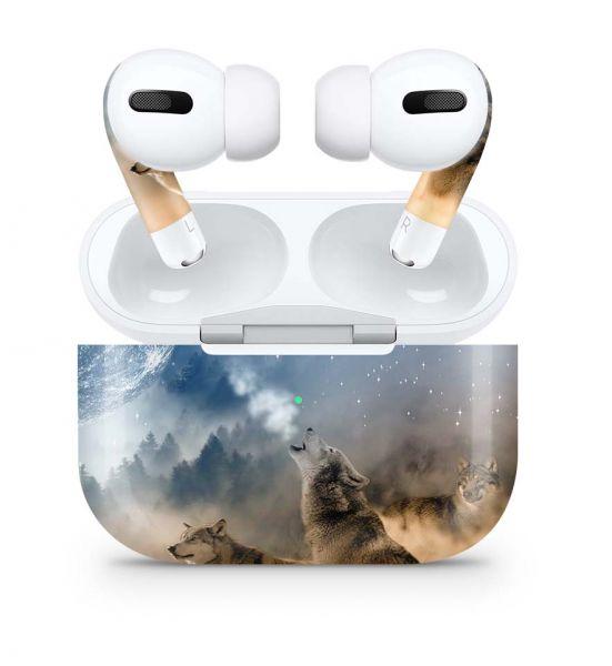 Apple AirPods Pro Skin Aufkleber Design Vinyl Skins Schutzfolie Howling Moon
