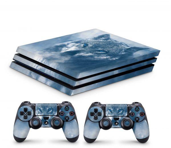 Playstation 4 Pro Skin Aufkleber + PS4 Controller Skins Wolf Blue Eyes