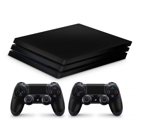 Playstation 4 Pro Skin Aufkleber + PS4 Controller Skins Solid State black