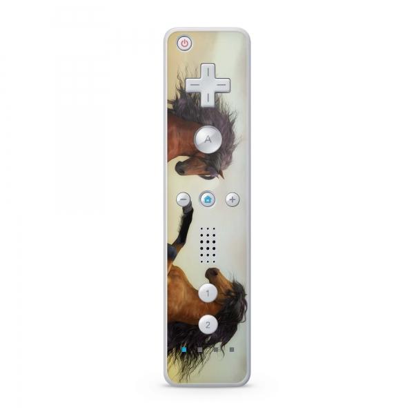 Nintendo Wii Remote Controller Skin Aufkleber Design Schutzfolie Zwei Pferde