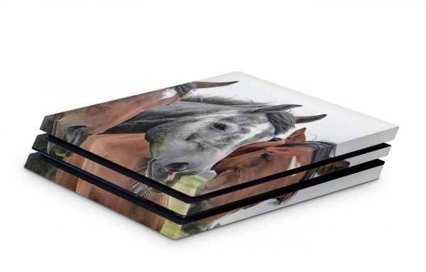 Playstation 4 Pro Skin Aufkleber PS4 Design Pferde