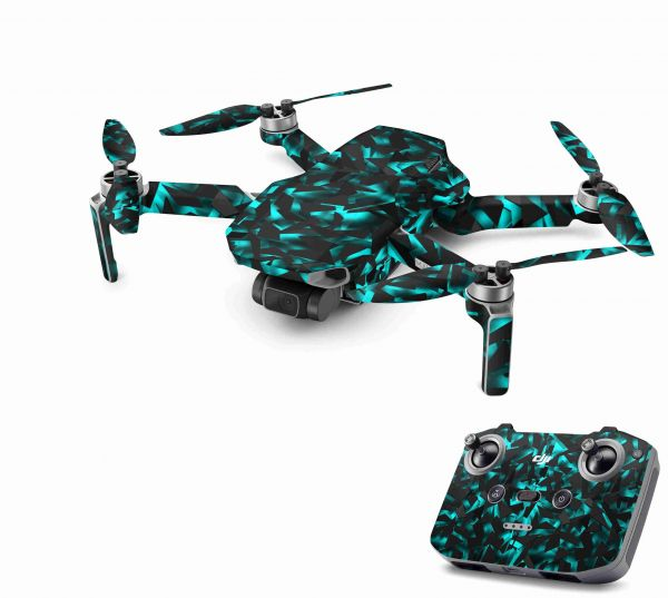 DJI Mavic Mini 2 Skin Aufkleber Wraps Skins Design Folie Shattered black blue