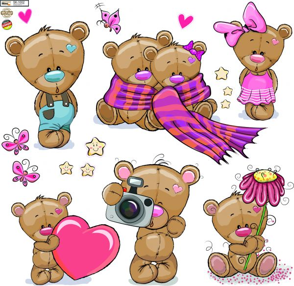 Wandtattoo Kinderzimmer niedliche Teddys auf Bogen