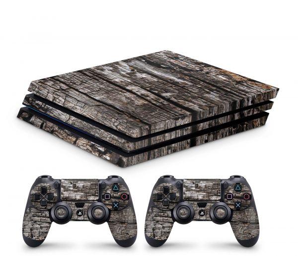 Playstation 4 Pro Skin Aufkleber + PS4 Controller Skins Split Holz 13