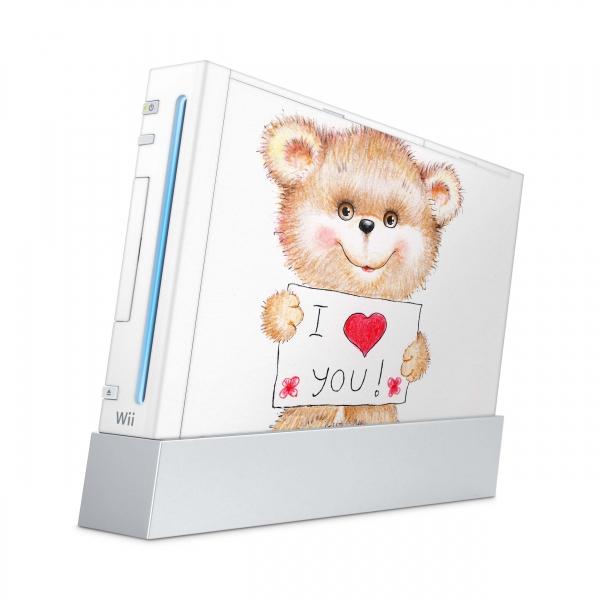 Nintendo Wii Konsolen Skin Aufkleber Design Schutzfolie Teddy Love You