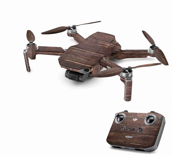 DJI Mavic Mini 2 Skin Aufkleber Wraps Skins Design Folie Brown Wood