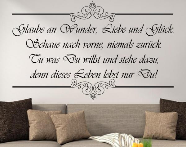 Wandtattoo Glaube an Wunder, Liebe und Glück... - Edelverion SZ013-b