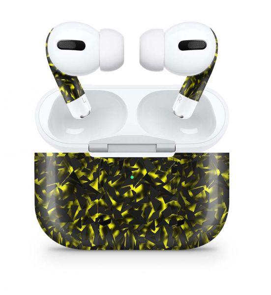 Apple AirPods Pro Skin Aufkleber Design Vinyl Skins Schutzfolie Shattered Black Yellow