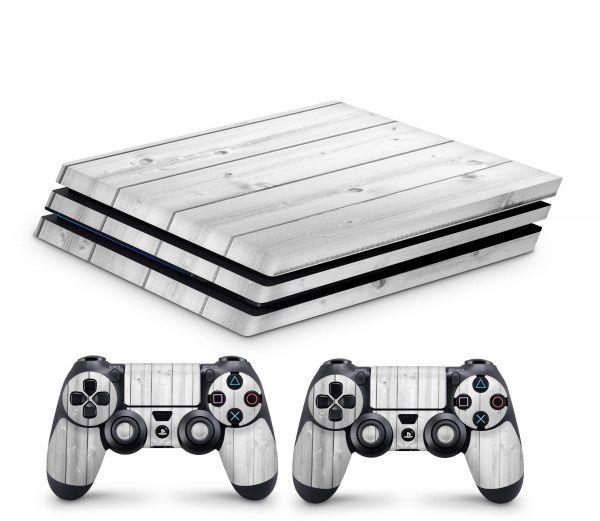 Playstation 4 Pro Skin Aufkleber + PS4 Controller Skins White Wood